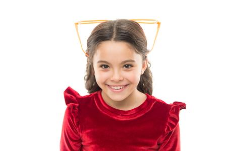 Effective exercise eyes zooming. Child happy with good eyesight. Laser correction. Eye exercises to improve eyesight. Girl kid wear big eyeglasses. Eyesight and health. Optics and eyesight treatment. Stok Fotoğraf