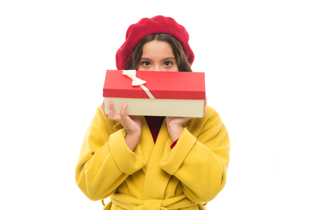 Birthday shopping. Girl happy kid hold birthday gift box. Every girl dream about such surprise. Birthday girl carry present with ribbon bow. Birthday wish list. Visit fashion store to choose gift.