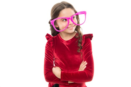 Eye exercises to improve eyesight. Girl kid wear big eyeglasses. Optics and eyesight treatment. Effective exercise eyes zooming. Child happy with good eyesight. Laser correction. Eyesight and health.