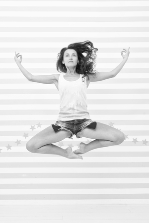 yoga girl in harmony. girl jump in yoga meditation. harmony and peace. i like meditation. body and mind. woman practicing lotus pose in air. energy and freedom. higher level of concentration