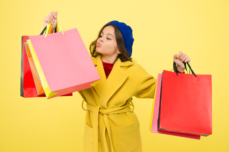 Happy shopping online. Birthday and christmas presents. International childrens day. big sale in shopping mall. small girl child with shopping bags. Own business. Nice purchase. Paris fashion. Stockfoto