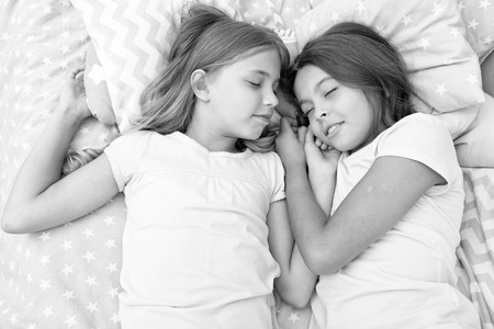 good night and healthy sleep. little girls have a good night in bedroom. little girls have healthy sleep. time to relax.