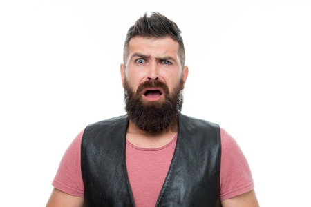 Bearded man. Hair and beard care. Male barber care. scared man hipster. Facial care. Young and brutal. Really bad shave. Mature hipster with beard. brutal caucasian hipster with moustache. Imagens