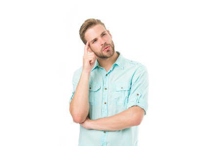 Think to solve. Man with bristle serious face thinking white background. Thoughtful mood concept. Man with beard thinking. Think about solution. Close to solution. Guy thoughtful touches his temple.