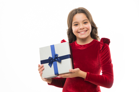 Feel so thankful. Birthday girl carry present with ribbon bow. Art of making gifts. Birthday wish list. Happy birthday concept. Girl kid hold birthday gift box. Every girl dream about such surprise.