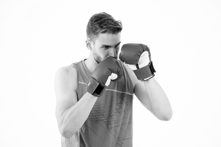Man boxer training to achieve success in sport. Man training in boxing gloves. Boxing champion. Success attend you. Participating in sport activity.