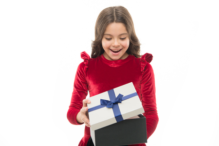 Happy birthday concept. Girl kid hold birthday gift box. Every girl dream about such surprise. Feel so thankful. Birthday girl carry present with ribbon bow. Art of making gifts. Birthday wish list. Stockfoto