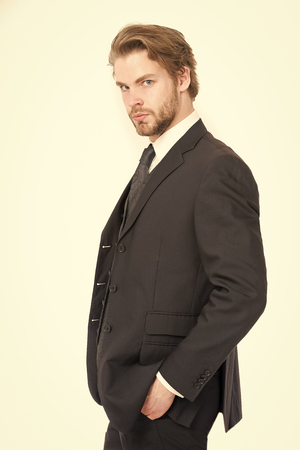Businessman or ceo in black jacket. Business and success. Manager with beard on serious face. Fashion and beauty. Man in formal outfit isolated on white.