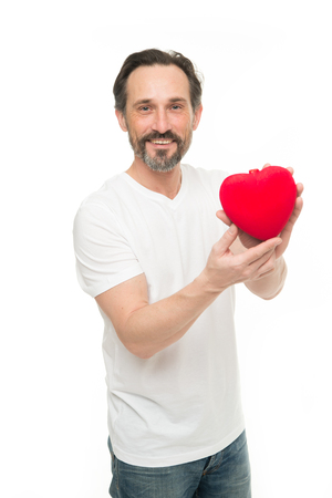 Love is a great feeling. Valentines day. Health care. heart transplant. Holiday celebration. Love. problems with heart. Man with beard. Decorative for valentine day. Mature bearded man with red heart.