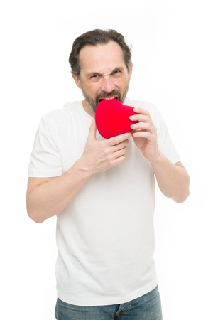Valentines day. Health care. Love. problems with heart. Man with beard. Decorative for valentines day. heart transplant. Holiday party. Mature bearded man with red heart. I will be your Valentine.