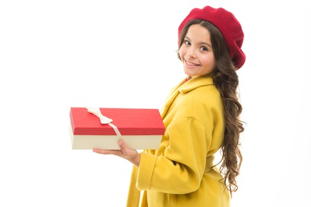 Birthday shopping. Every girl dream about such surprise. Birthday girl carry present with ribbon bow. Birthday wish list. Visit fashion store to choose gift. Girl happy kid hold birthday gift box. Stockfoto