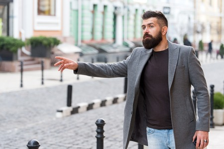 Businessman catching taxi while standing outdoors urban background. Man bearded hipster casual style waiting for taxi. Guy at street city center. Looking for transportation. Bus stop. Need a taxi.