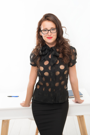 Achieving best results. Pretty school teacher or student. Fashion and beauty. Business school coach. Dress code. Sexy businesswoman. Back to school. Girl with red lips in glasses. You are so smart.
