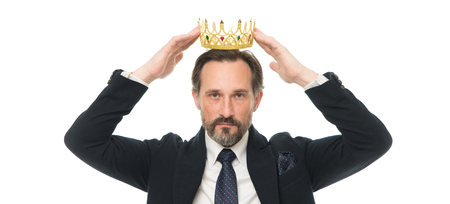 Monarchy family traditions. Man nature bearded guy in suit hold golden crown symbol of monarchy. Direct line to throne. Enormous privilege. Become king ceremony. King attribute. Become next king.