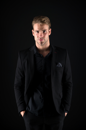 Feeling confident. Male beauty and masculinity. Guy attractive stylish confident model. Confident in his style. Man in dark clothes. Real macho. Man handsome well groomed macho on black background.