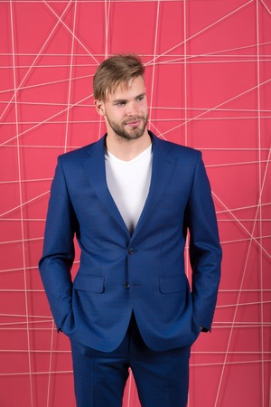 confident businessman in suit. Business fashion and dress code. Businessman. serious man. Feel the success. Male formal fashion. sexy man in stylish jacket. Business is over. Foto de archivo