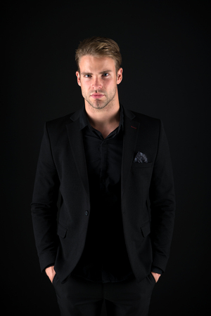 Feeling confident. Male beauty and masculinity. Guy attractive confident model. Confident in his style. Man in dark clothes. Casually handsome. Man handsome well groomed macho on black background.
