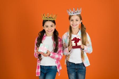 Egocentric princess. Kids wear golden crowns symbol princess. Every girl dreaming become princess. Little princess. Happy childhood. We deserve only best. Girls wear crowns. Spoiled children concept.