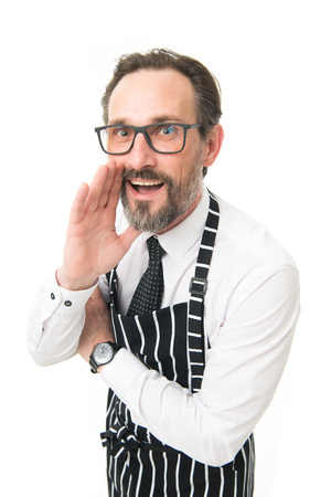 Want to know my secret recipe. Man cook in apron white background. Professional occupation. Cook share secret tips in cooking. Culinary life hacks. Cooking courses. Mature cook talking to you.