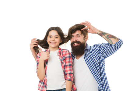 Father and daughter having fun. Child and dad best friends. Friendly relations. Parenthood and childhood. Fathers day concept. Lovely father and cute kid. Happy to be father. Going crazy together.