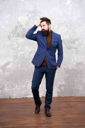 Elegancy and male style. Businessman or host fashionable outfit grey background. Fashion concept. Classy style. Man bearded hipster wear classic suit outfit. Formal outfit. Take good care of suit.