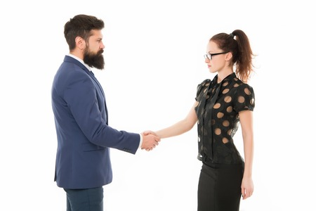 we have a deal. partnership in business. man and woman shaking hands. bearded man and sexy woman. Business couple partners has deal. Partnership and collaboration. Businesspeople. Partner business. Imagens