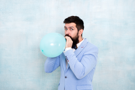 Man groom blue tuxedo bow tie hold air balloon. Wedding fun. Groom bearded hipster having fun with air balloon. My happy day. Happy guy in cheerful mood. Fun and happiness concept. Lets have fun.