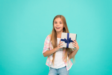 Birthday wish list. Happiness and joy. Happy birthday concept. Pleasant surprise. Girl kid hold birthday gift box. Every kid dream about such surprise. Birthday girl carry present. Unexpected bonus.