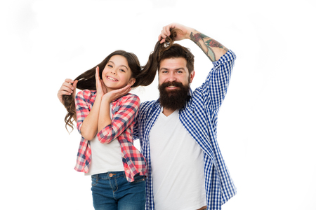 Having fun. Bearded man father with daughter. Father and daughter. Bearded man dad. Little girl love her father. Happy family day. Tender love. Happy little girl with long hair. Love her most of all.