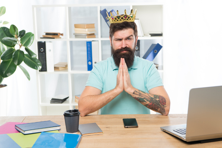 Head of department. Man bearded manager businessman entrepreneur wear golden crown. Top manager head office. Confident boss enjoying glory. Head and boss concept. I am the best. King of office.