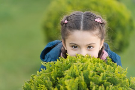 Girl cute kid green grass background. Healthy emotional happy kid relaxing outdoors. What makes child happy. Girl braids hairstyle enjoy relax. Happy hiding game outdoors. Play hide and seek.