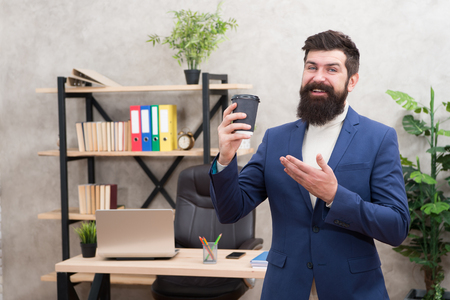 modern innovation. Businessman in formal outfit. Confident man. Boss workplace. Coffee break. Bearded man in business office. innovation strategy. innovation technology. good coffee - good business.