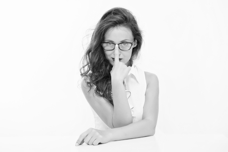 Business coach. Back to school. Girl with red lips in glasses. Pretty school teacher or student. Business school coach. Dress code. Fashion and beauty. Sexy businesswoman. Confident beauty