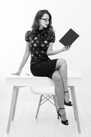 Business school coach. Dress code. Fashion and beauty. Pretty school teacher or student. Sexy businesswoman. Back to school. Girl with red lips in glasses. Really good info. School curriculum