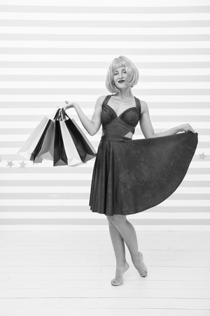 740fd00b41 Best outfit ever. Black Friday sales. happy woman go shopping. Last
