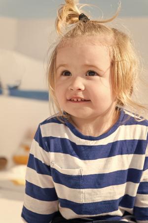 Cruising with kids. Child smiling face striped shirt looks like sailor. Kid boy toddler travelling sea cruise. Child enjoy vacation on cruise ship. Family vacation on cruise ship all inclusive tour.
