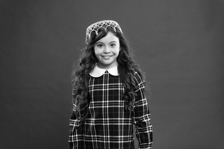 Happy little girl. Beauty and fashion. small girl child with perfect hair. International childrens day. small kid fashion. Childhood happiness. real queen. Beautiful female.