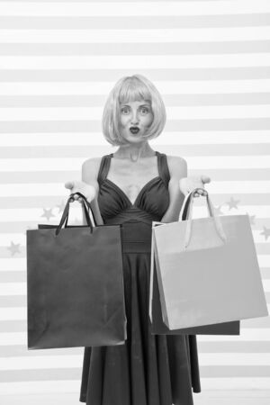 Home shopping. Last preparations. big sale in shopping mall. Happy shopping online, holidays. happy woman go shopping. Fashion. Black Friday sales. Crazy girl with bags, copy space. In shop store.