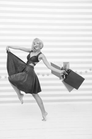 Crazy girl with shopping bags. Last preparations. big sale in shopping mall. Fashion. Black Friday sales. happy woman go shopping. Happy shopping online. Happy holidays. Easy and fast.