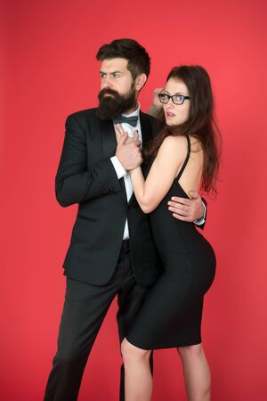 esthete. Romantic relationship. art experts of bearded man and woman. Formal couple date. Couple in love. Formal party. esthete look. fashion and beauty. esthete taste of fashion couple. Love in look. Foto de archivo
