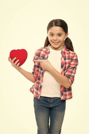 Girl cute child hold heart symbol love.