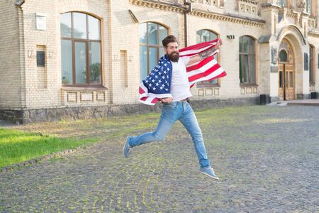 Bearded man gaining usa citizenship. American citizen celebrating independence day.