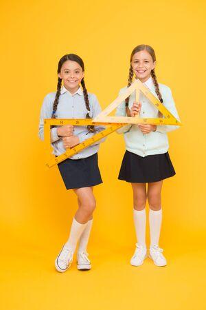 Schoolgirls tidy appearance school uniform.