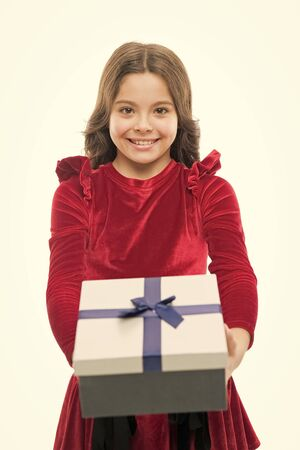 Happy birthday gift. small girl after shopping. big sale in shopping mall. Boxing day. Little girl with present box. Thanks for your purchase. Home shopping. Shopaholic. Online shop