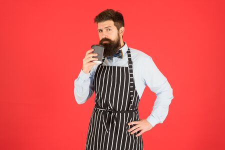Caffeine drink. Loving his job. Third wave coffee aspires to highest form of culinary appreciation of coffee. Man bearded hipster professional barista enjoy aroma coffee. Cafe and coffee shop concept