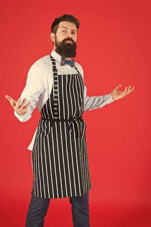 Professional in kitchen. Bearded man chef cooking. Hipster cooking home or restaurant. Modern cafe concept. Cooking modern meals. Man with beard cook hipster apron. Hipster chef cook red background