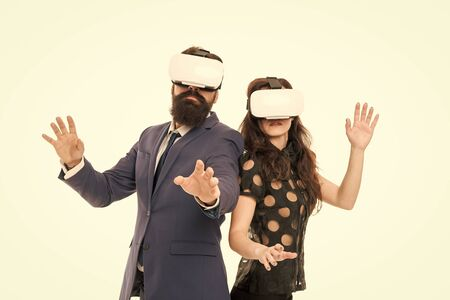 Modern software for business. Just imagine. Business implement modern technology. Couple colleagues wear hmd explore virtual reality. Business partners interact in virtual reality. New opportunity