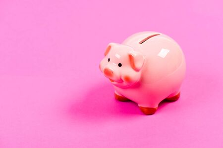 planning budget. income management. money saving. piggy bank on pink background. financial problem. copy space. Budget. Financial crisis. Working hard Фото со стока