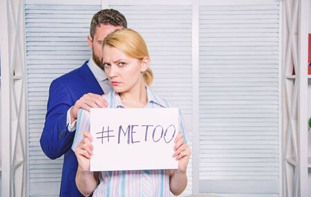 Stop violence against Women. Sexual assault and harassment at workplace. Woman showing a note with the text me too. Man touching girl.