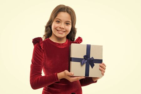 Birthday girl carry present with ribbon bow. Art of making gifts. Birthday wish list. Happy birthday concept. Girl kid hold birthday gift box. Every girl dream about such surprise. Feel so thankful